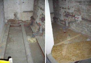 se vsim vsudy od podlahy pres vodu, odpady, elektrinu az po strop...zde jiz hotove nove rozvody. DOLE - tvorba podlahy.
