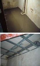 udelana nova podlaha, priprava pro podlahove vytapeni a zalito nivelackou.probourali jsme diru ven na ventilator, usadili trubku a pripravili profily na sadrokarton.