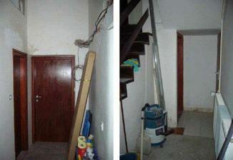 puvodni chodba - vlevo pohled od schodiste k predsnini, vpravo pohled ke sklepu a WC. Tady uz malinko upraveno, aby se tu dalo vubec bydlet...