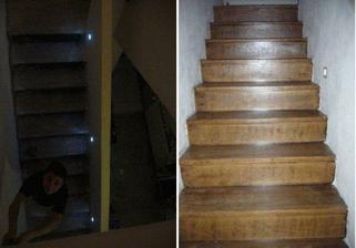 schody osvetlene, obrousene, nalakovane