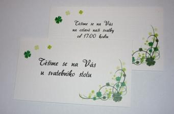 pozvanky na svatební hostinu a na odpolední oslavu