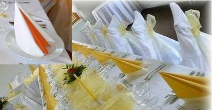 stůl bude žluto bílý, ubrousky jako nahoře v rohu, jen místo oranžového bude žlutý