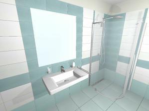 pod umyvadlem bude bílá skříňka s hnědým korpusem a ve sprchovém koutě nakonec bude 3 cm vanička