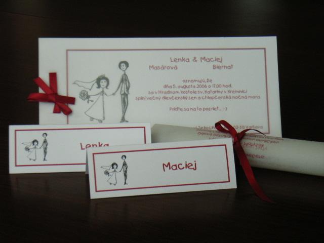 """Lenka{{_AND_}}Maciej - Samovyroba: oznamko, menovky a menu - vsade nase """"logo"""" - my dvaja nakresleni manzelovou sestrou..."""