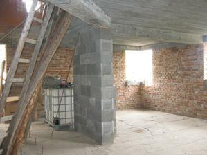 Pohlad od vstupt- za stlpom je kuchyna, pred stlpom je hala , na stlpe bude telka