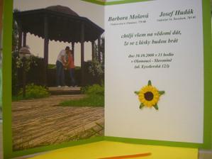 Naše svatební oznámení :-) Vlastnoručně vyráběno :-)...