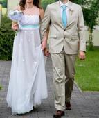 Svadobné šaty s mentolovou stužkou, 38