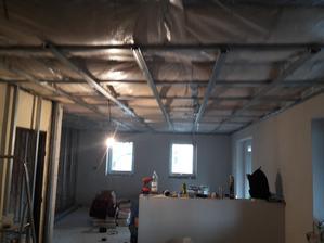 izolácia stropov,parozábrana,začiatok prác na sadrokartone