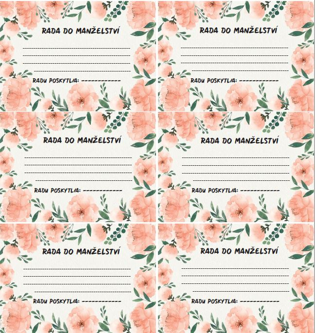 Naše svatební přípravy K+P - Kartičky na rady do manželství vyrobené se stejnou grafikou jako všechny tiskoviny :)
