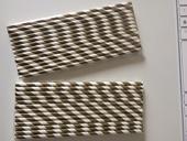 Bílo-zlatá papírová brčka 50ks, 19,5cm,