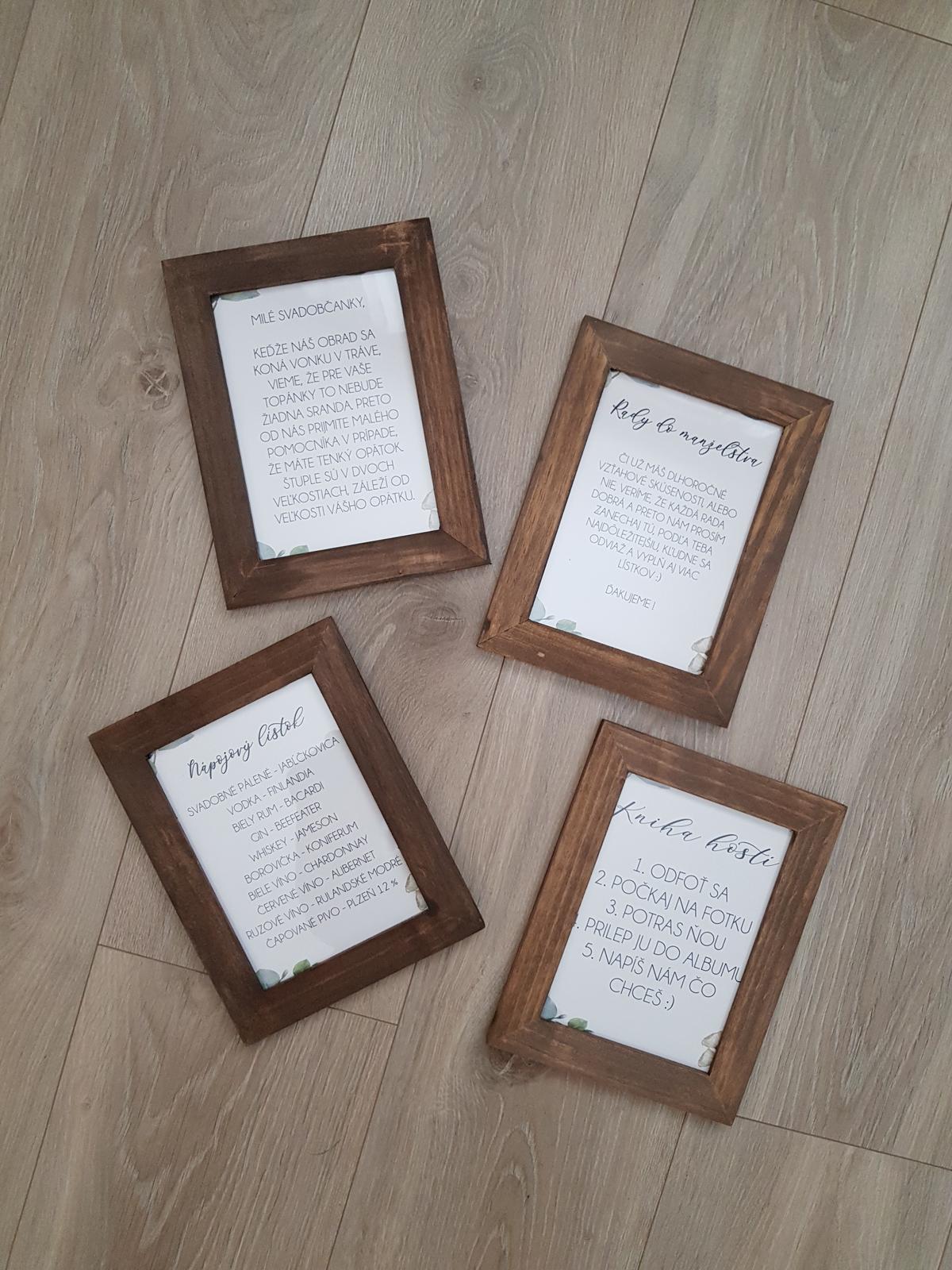 Náš deň - Ramiky - napojovy listok, rady do manzelstva, kniha hosti a instrukcie k stuplom na topanky