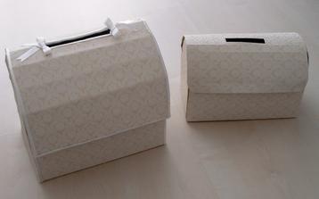 Vlastnoručne vyrobené krabice na oznamenia a peniažky