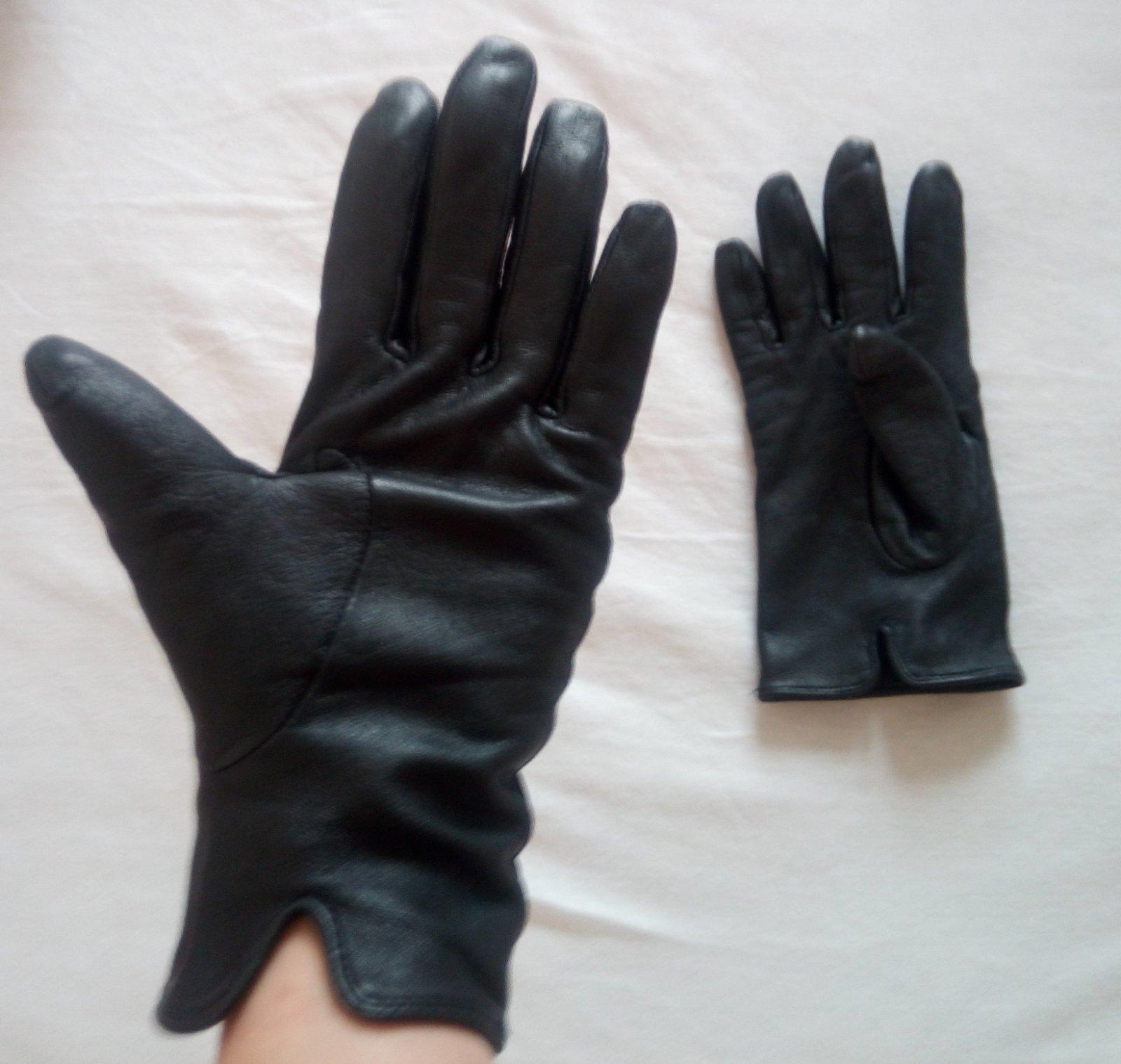 Čierne kožené rukavice S - Obrázok č. 1