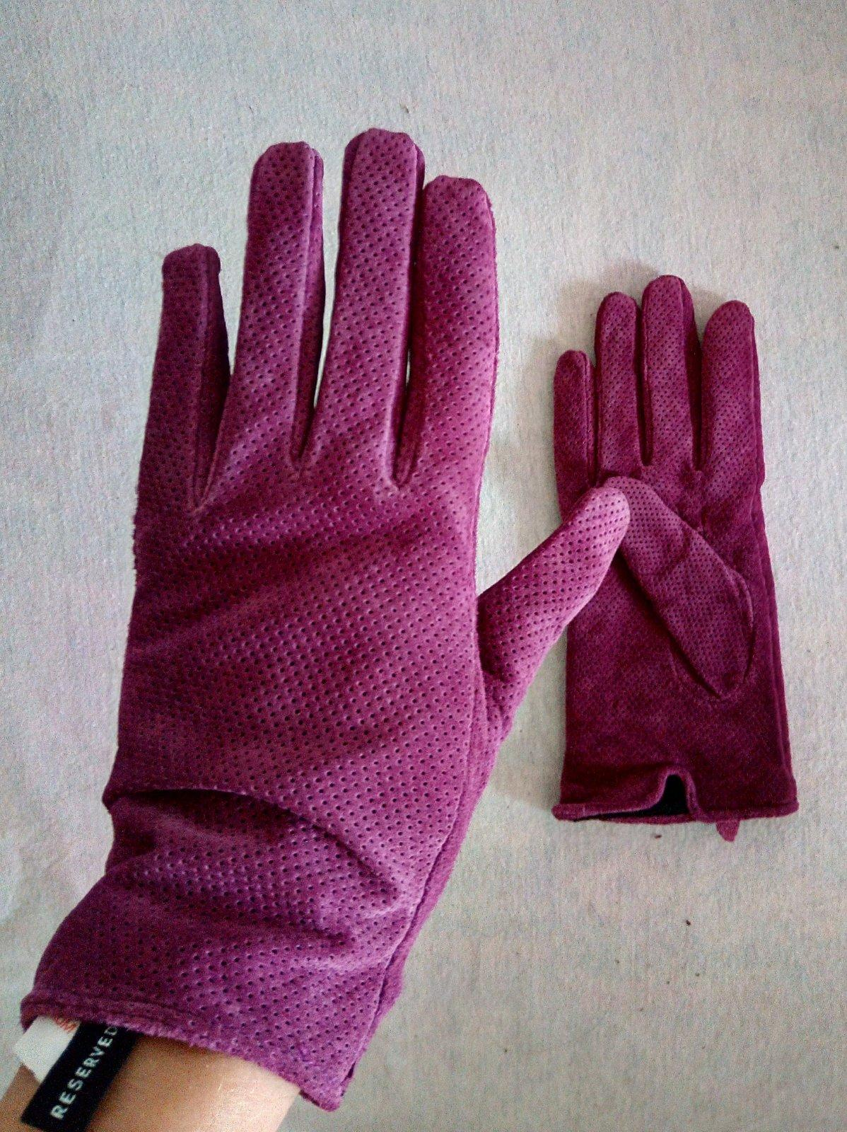 Fialové kožené rukavice Reserved S - Obrázok č. 1