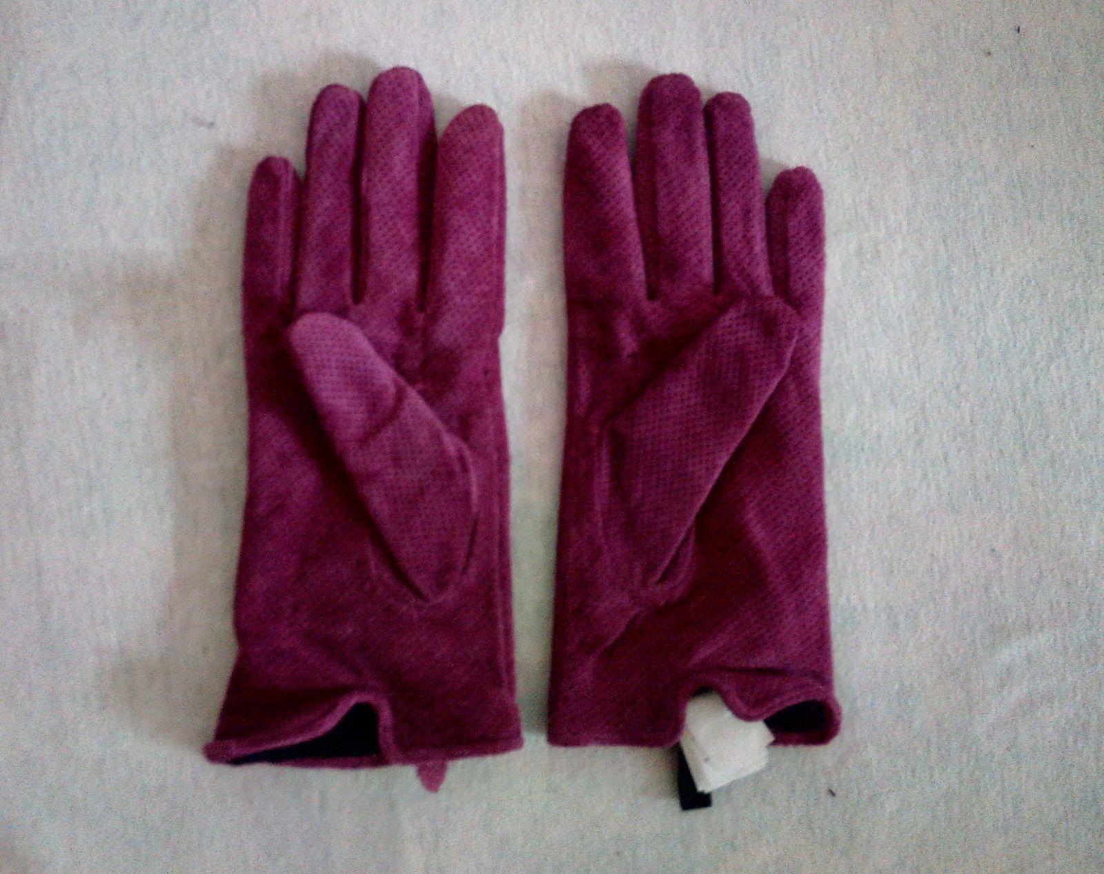 Fialové kožené rukavice Reserved S - Obrázok č. 2