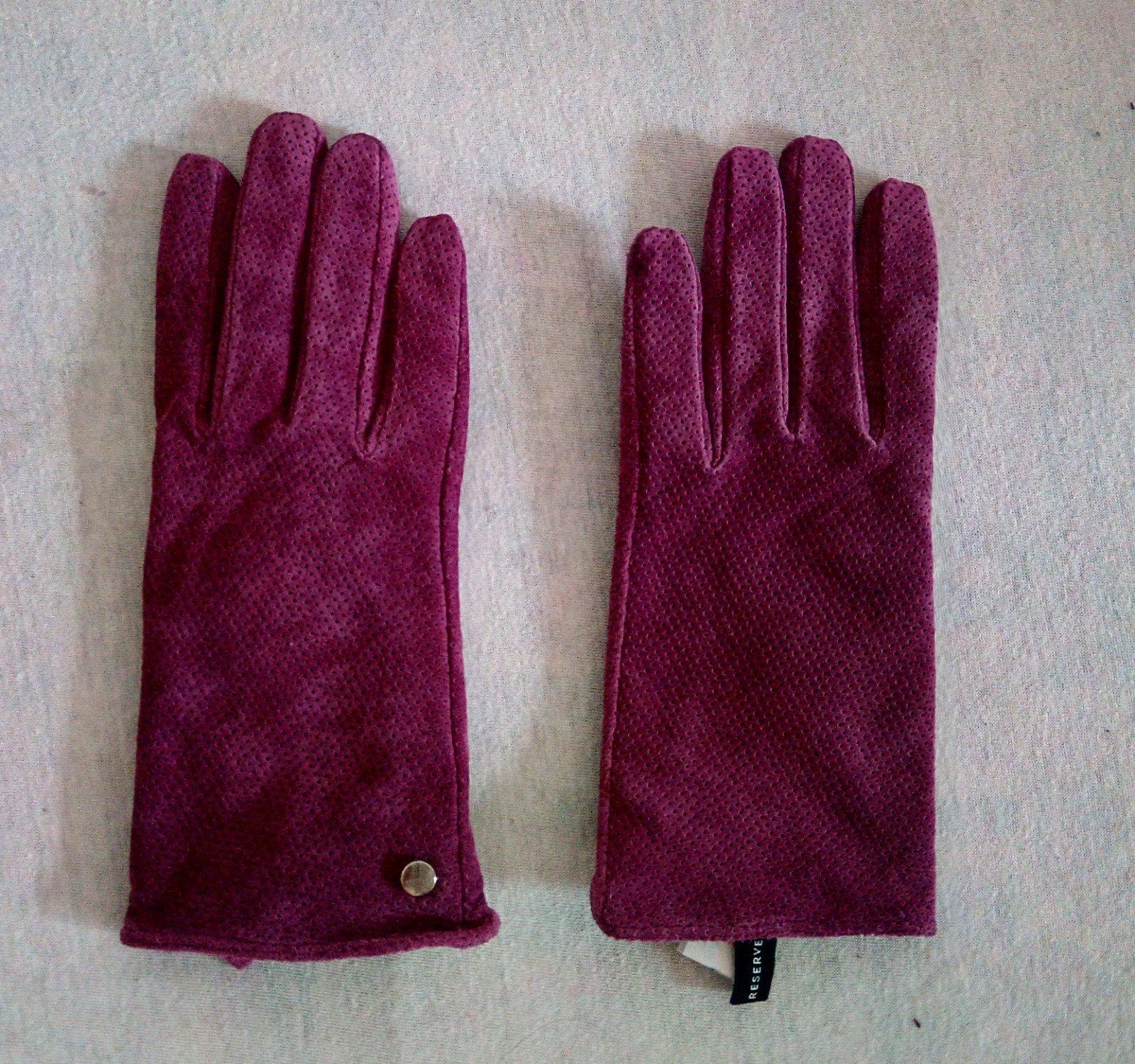 Fialové kožené rukavice Reserved S - Obrázok č. 3
