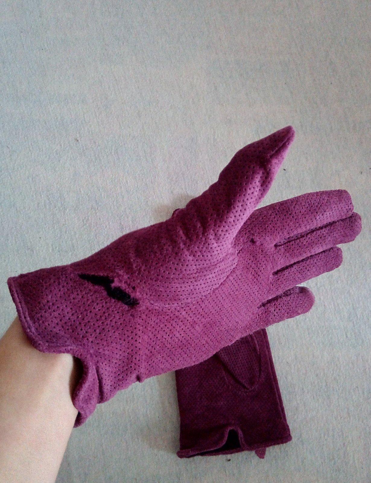 Fialové kožené rukavice Reserved S - Obrázok č. 4