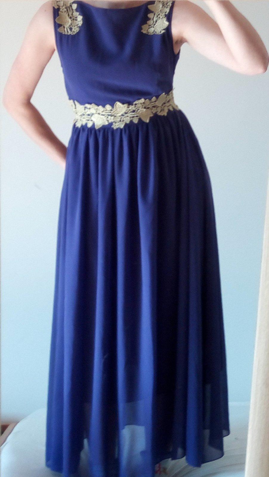 Fialové dlhé spoločenské šaty XS/S - Obrázok č. 1