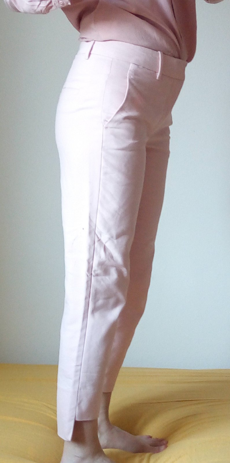 Bledoružové nohavice Zara S - Obrázok č. 2