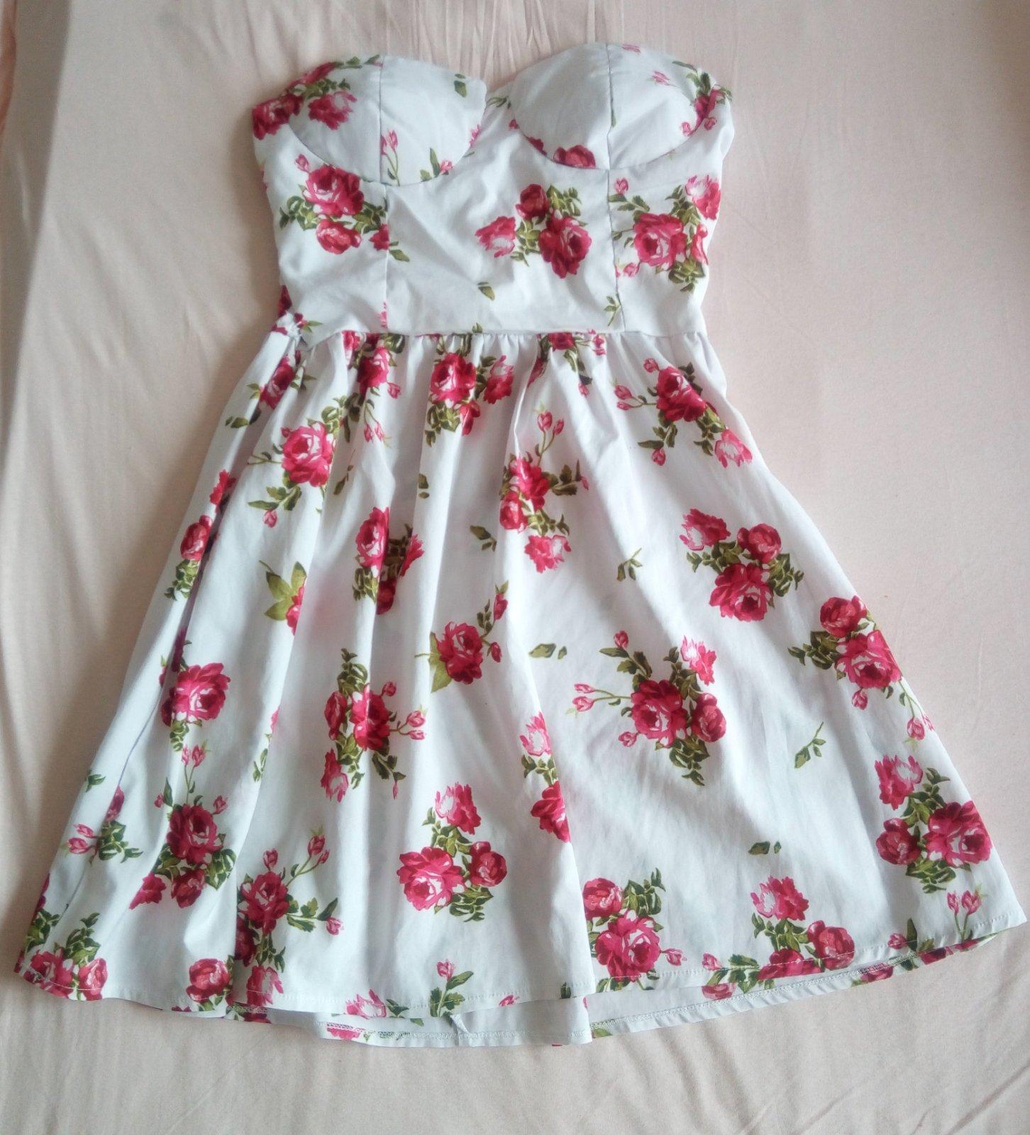 Kvetované biele šaty XS/S - Obrázok č. 1