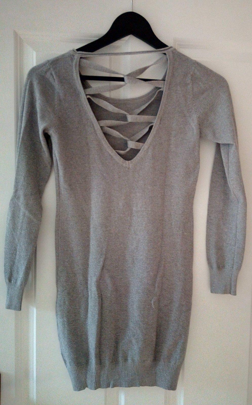 Sivý dlhší vlnený svetrík S/M - Obrázok č. 3