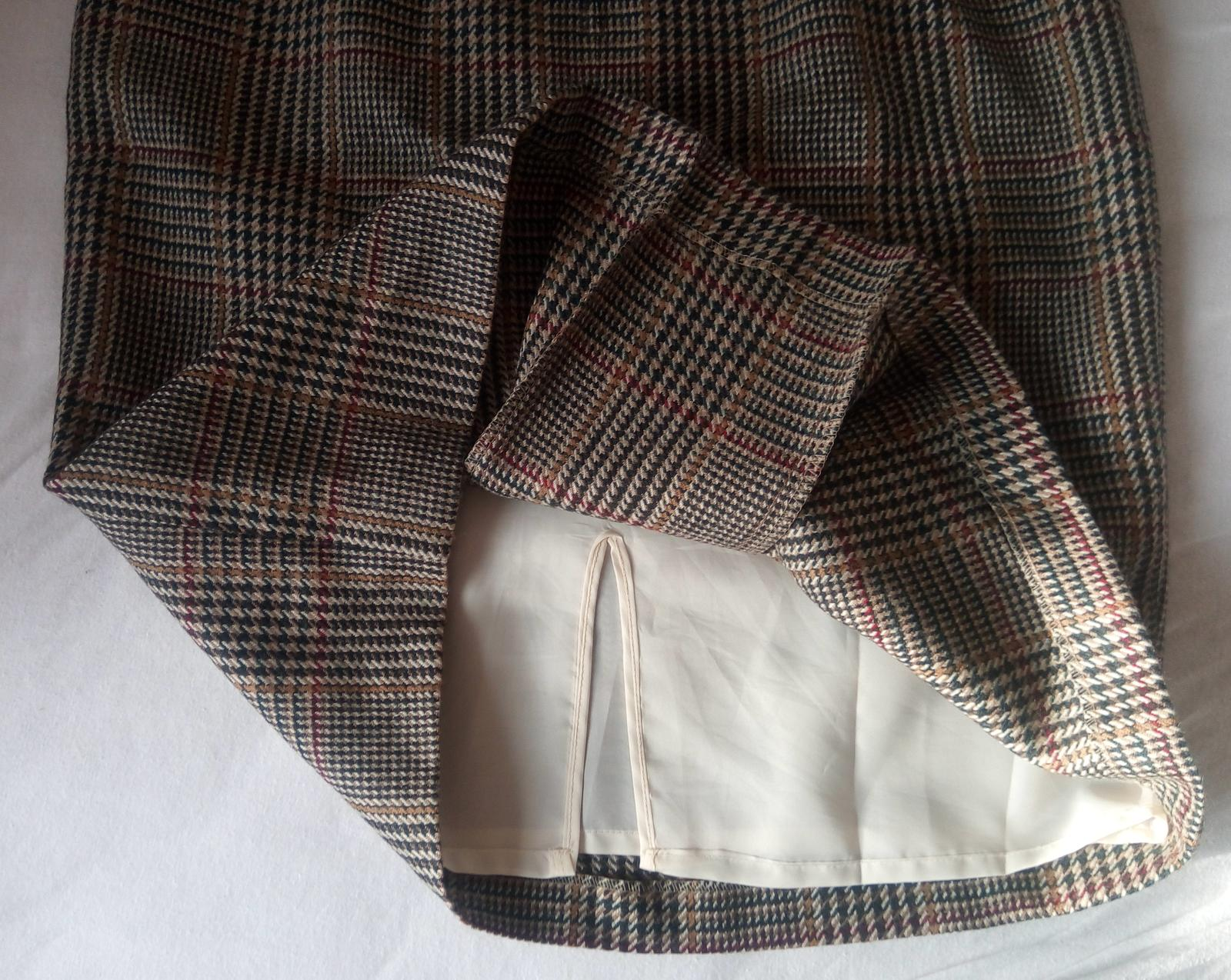 Vlnená károvaná sukňa S - Obrázok č. 4