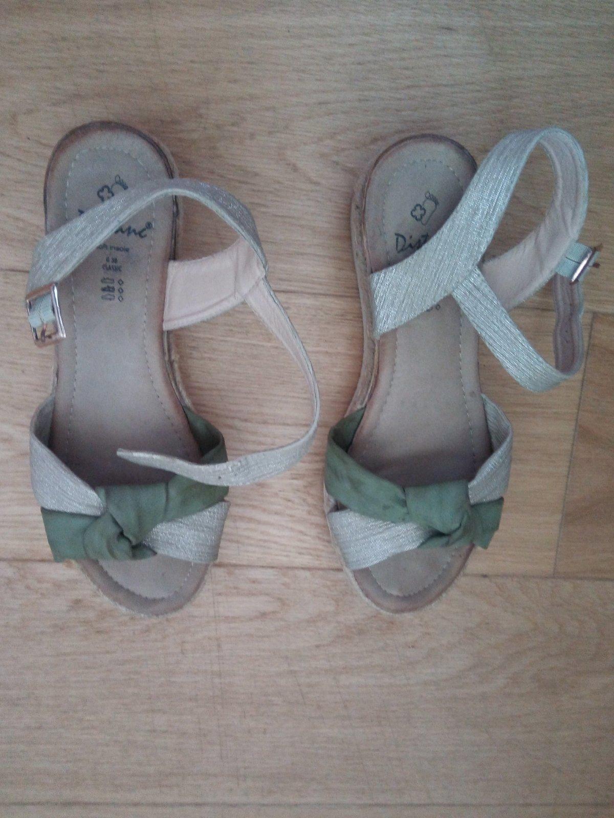 Zeleno - krémové sandálky 38 - Obrázok č. 2