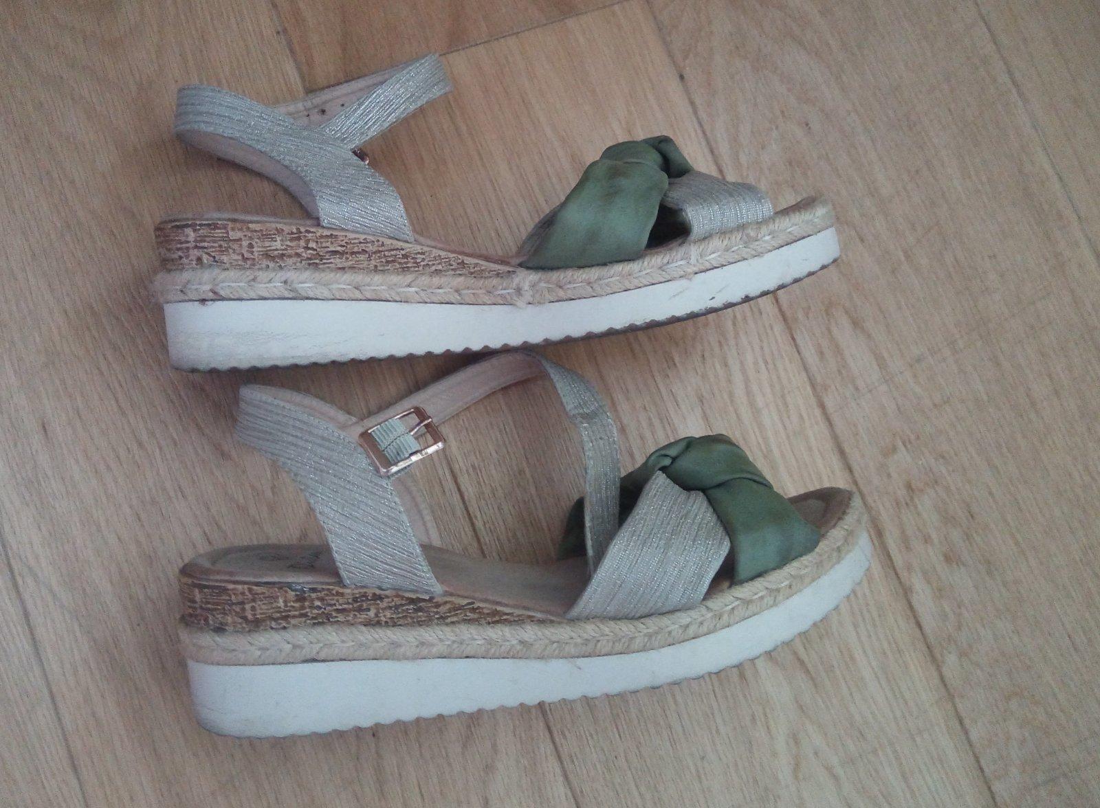 Zeleno - krémové sandálky 38 - Obrázok č. 3