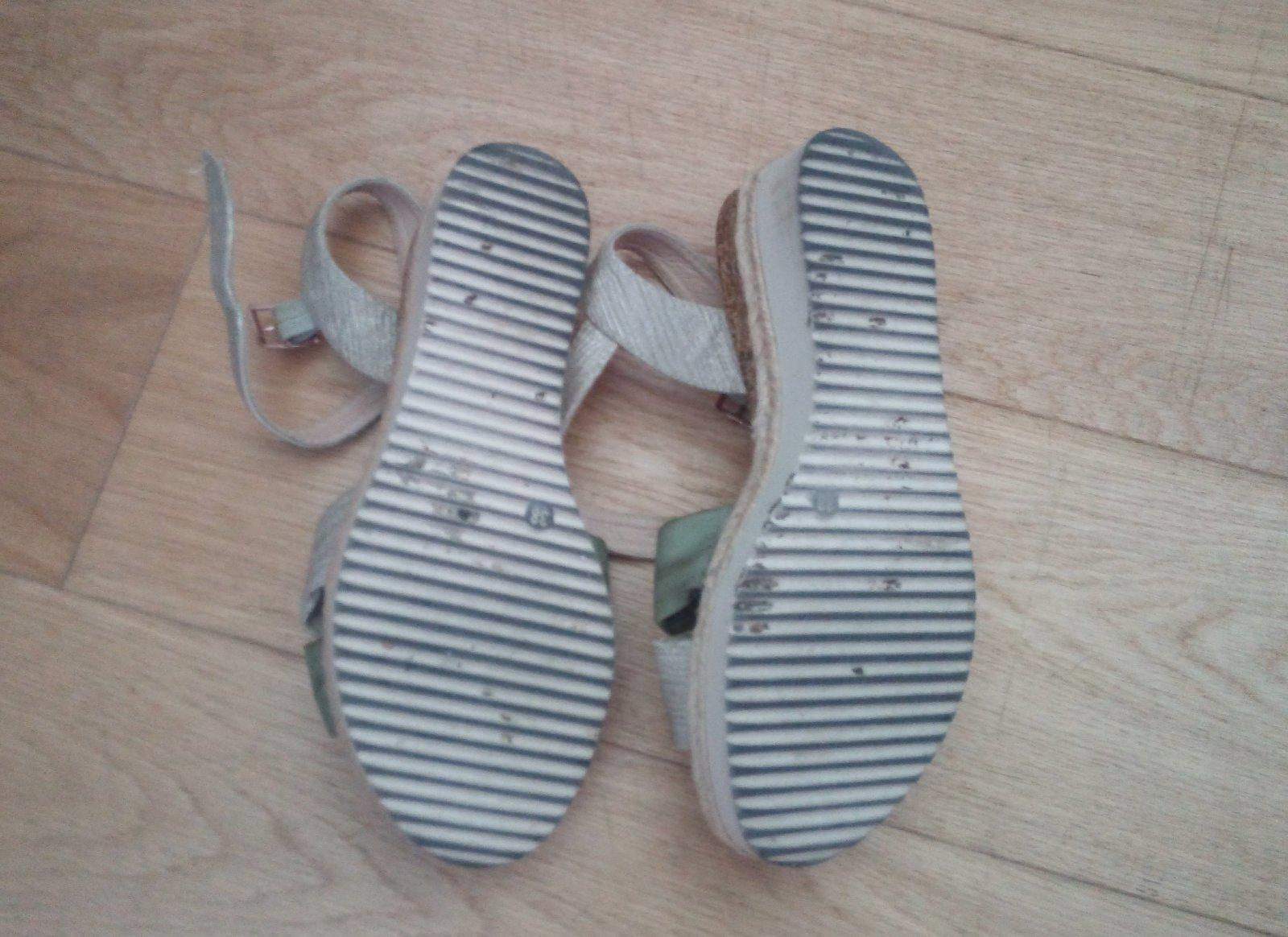Zeleno - krémové sandálky 38 - Obrázok č. 4