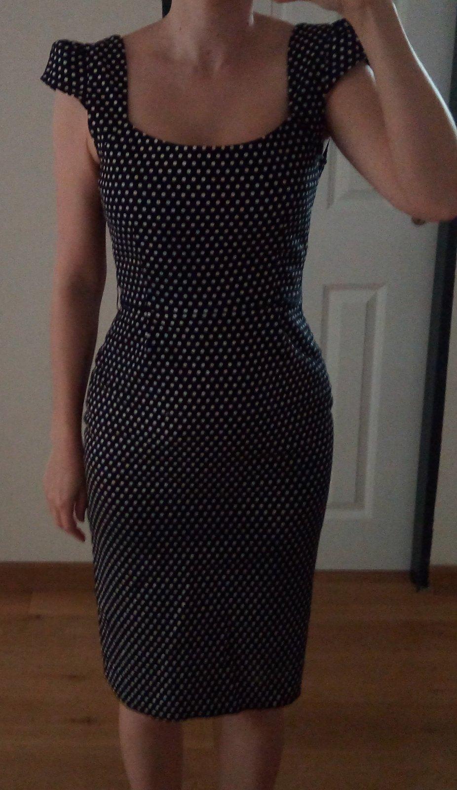 Čierne bodkované šaty XS - Obrázok č. 1