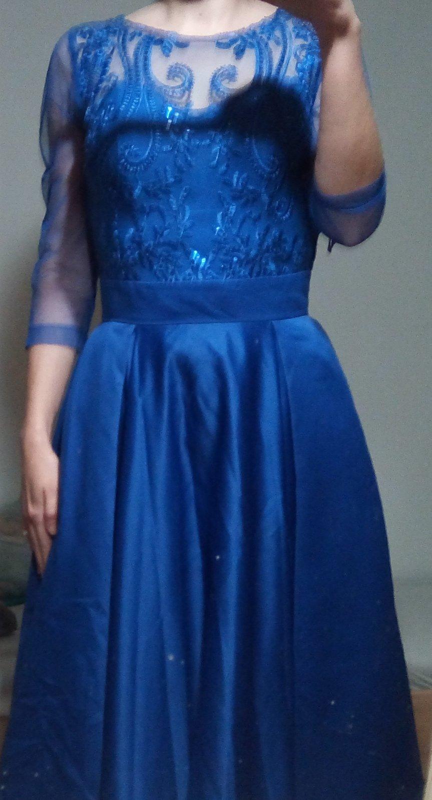 Kráľovsky modré spoločenské dlhé šaty XS - Obrázok č. 1