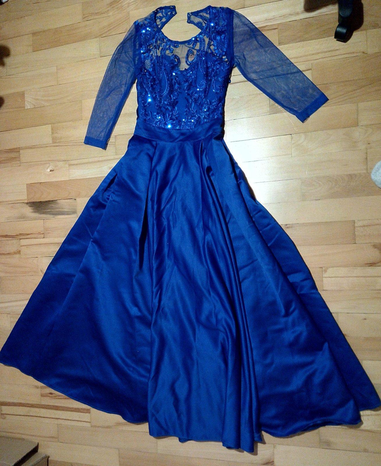 Kráľovsky modré spoločenské dlhé šaty XS - Obrázok č. 3