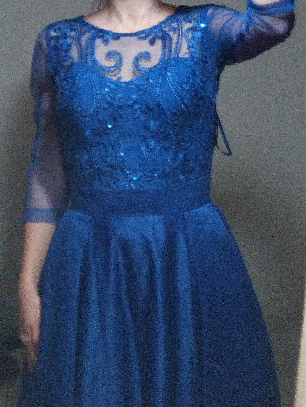Kráľovsky modré spoločenské dlhé šaty XS - Obrázok č. 4