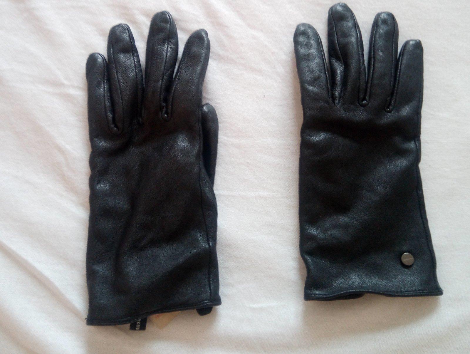 Čierne kožené rukavice - Obrázok č. 2