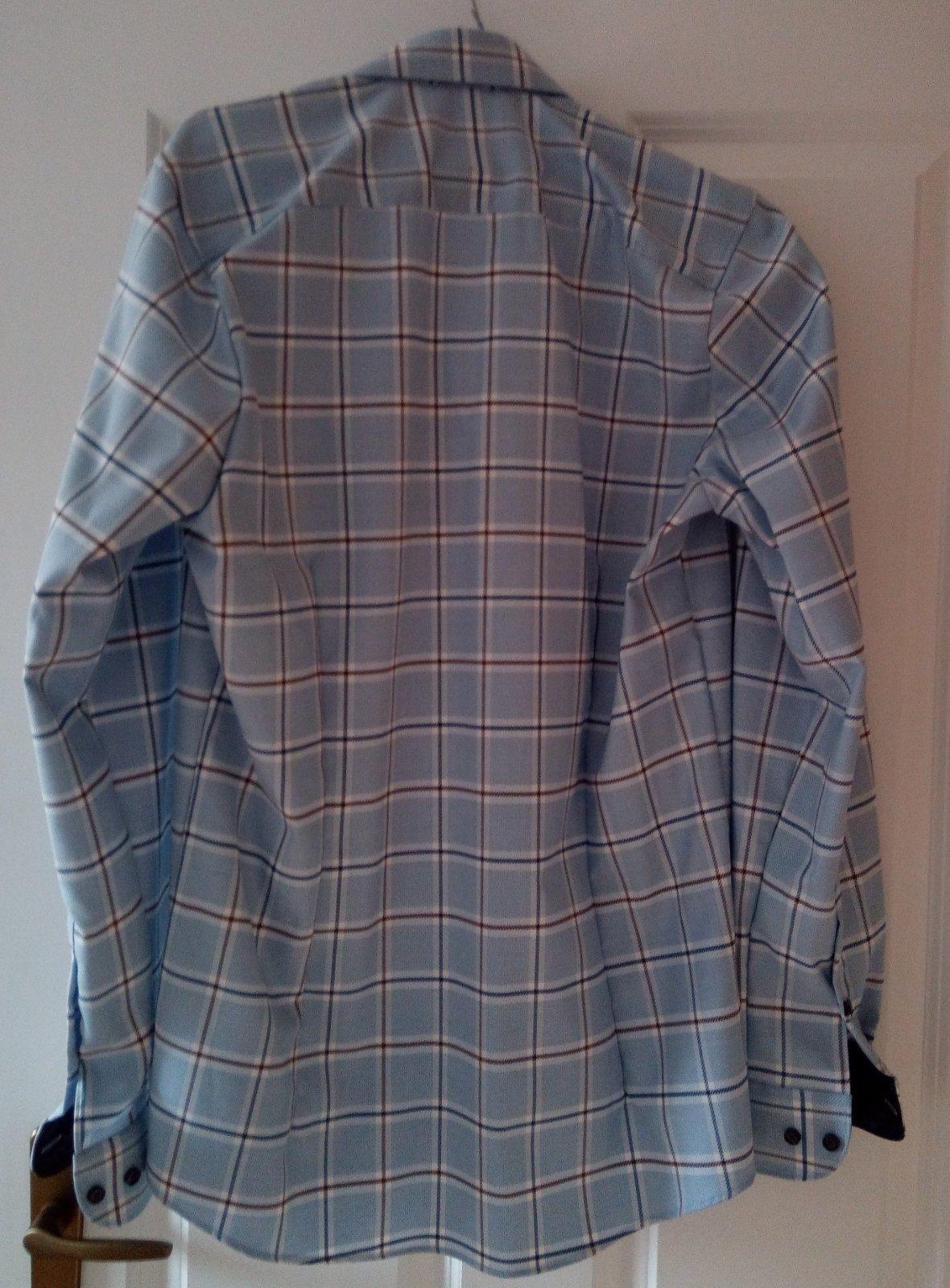 Pánska modrá károvaná košeľa 39 - Obrázok č. 2