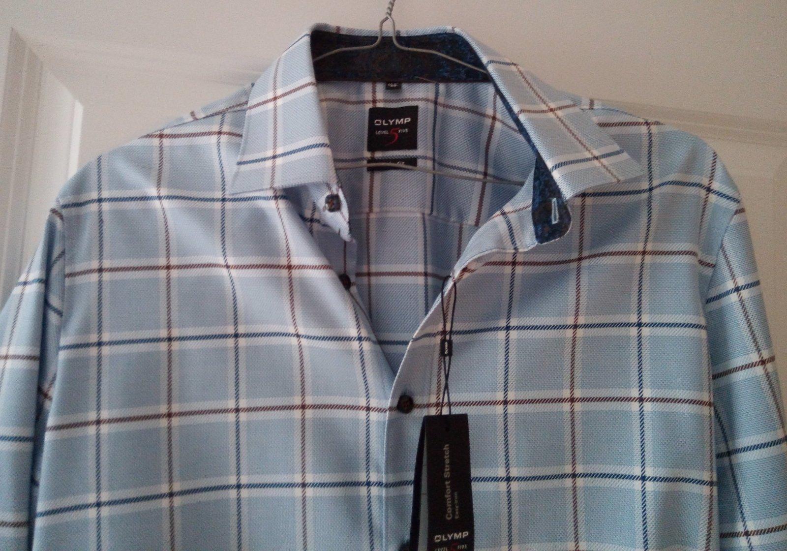 Pánska modrá károvaná košeľa 39 - Obrázok č. 4