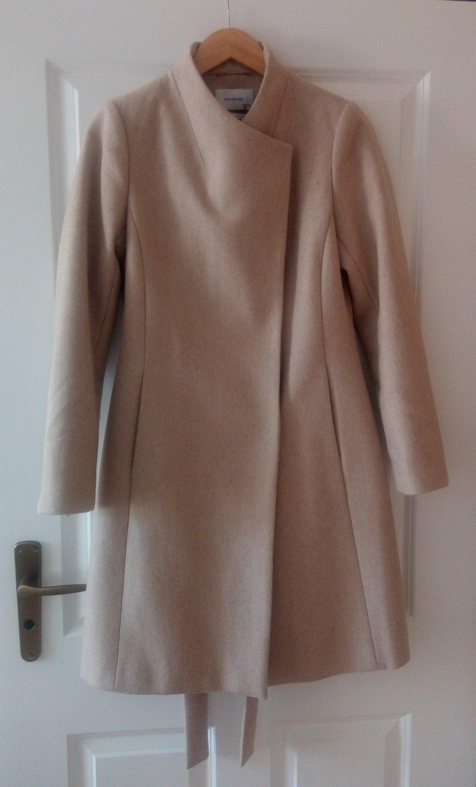 Béžový minimalistický vlnený kabát XS - Obrázok č. 1