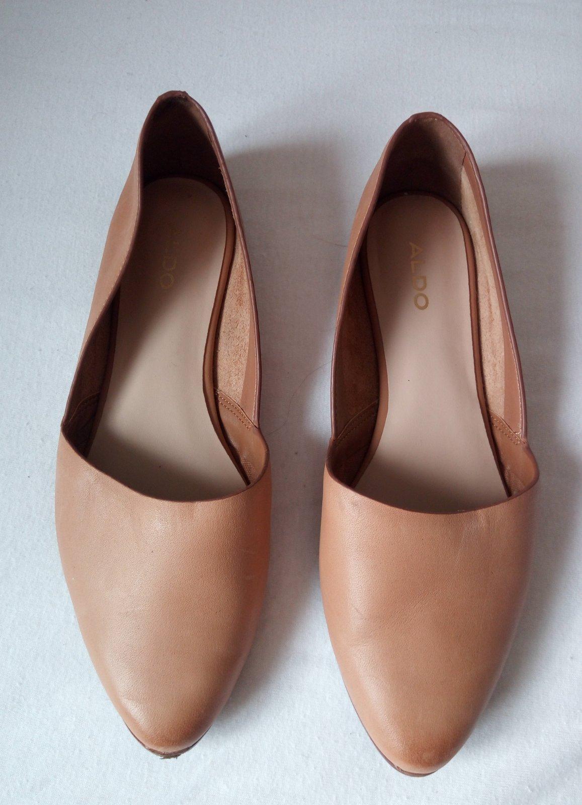 Bledohnedé/béžové minimalistické kožené baleríny 38 - Obrázok č. 1