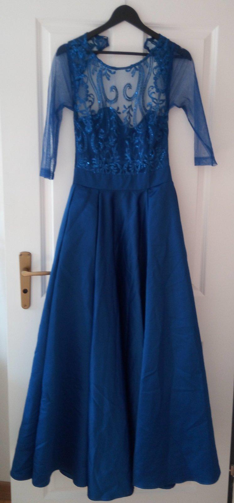 Dlhé kráľovsky modré spoločenské šaty XS - Obrázok č. 1