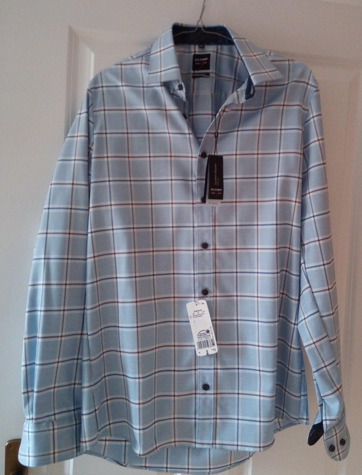 Modrá károvaná pánska košeľa M - Obrázok č. 1