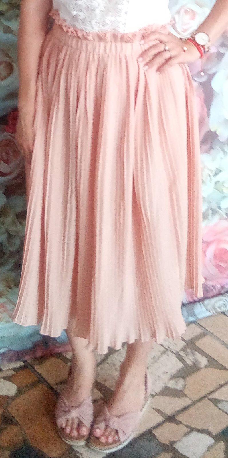 Bledoružová plisovaná sukňa S - Obrázok č. 1