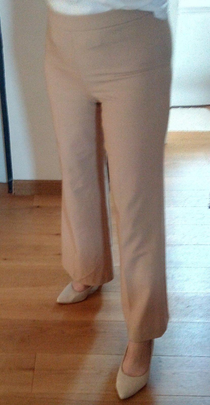 Béžové zvonové nohavice S/M - Obrázok č. 1