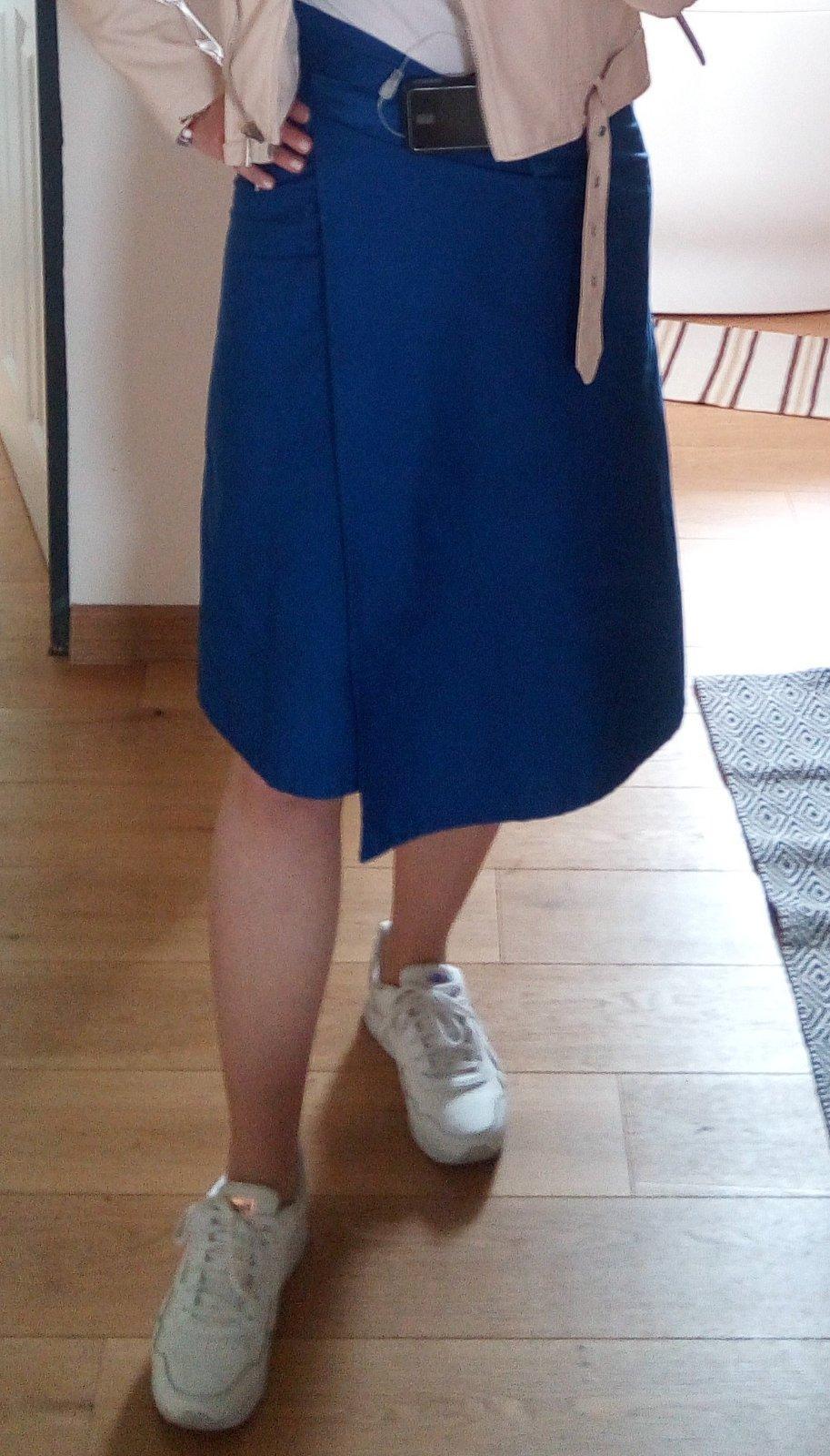 Modrá zavinovacia sukňa XS - L - Obrázok č. 1
