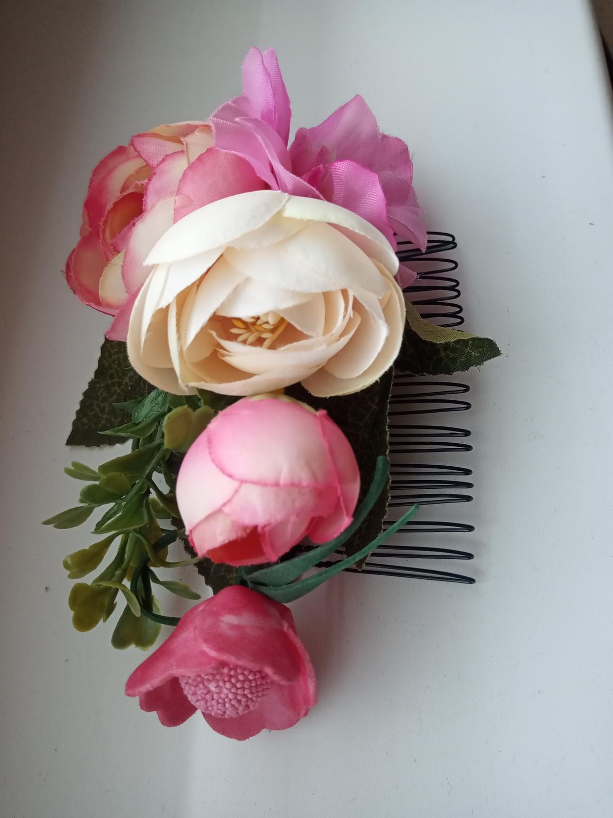 Hrebienok do vlasov s kvetmi - Obrázok č. 2