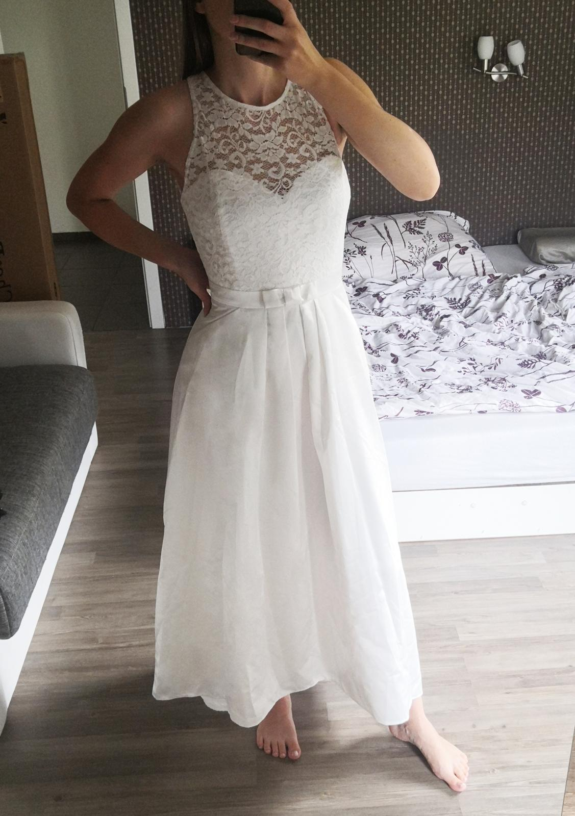 Svatební asymetrické šaty SWING s kapsami - Obrázek č. 1