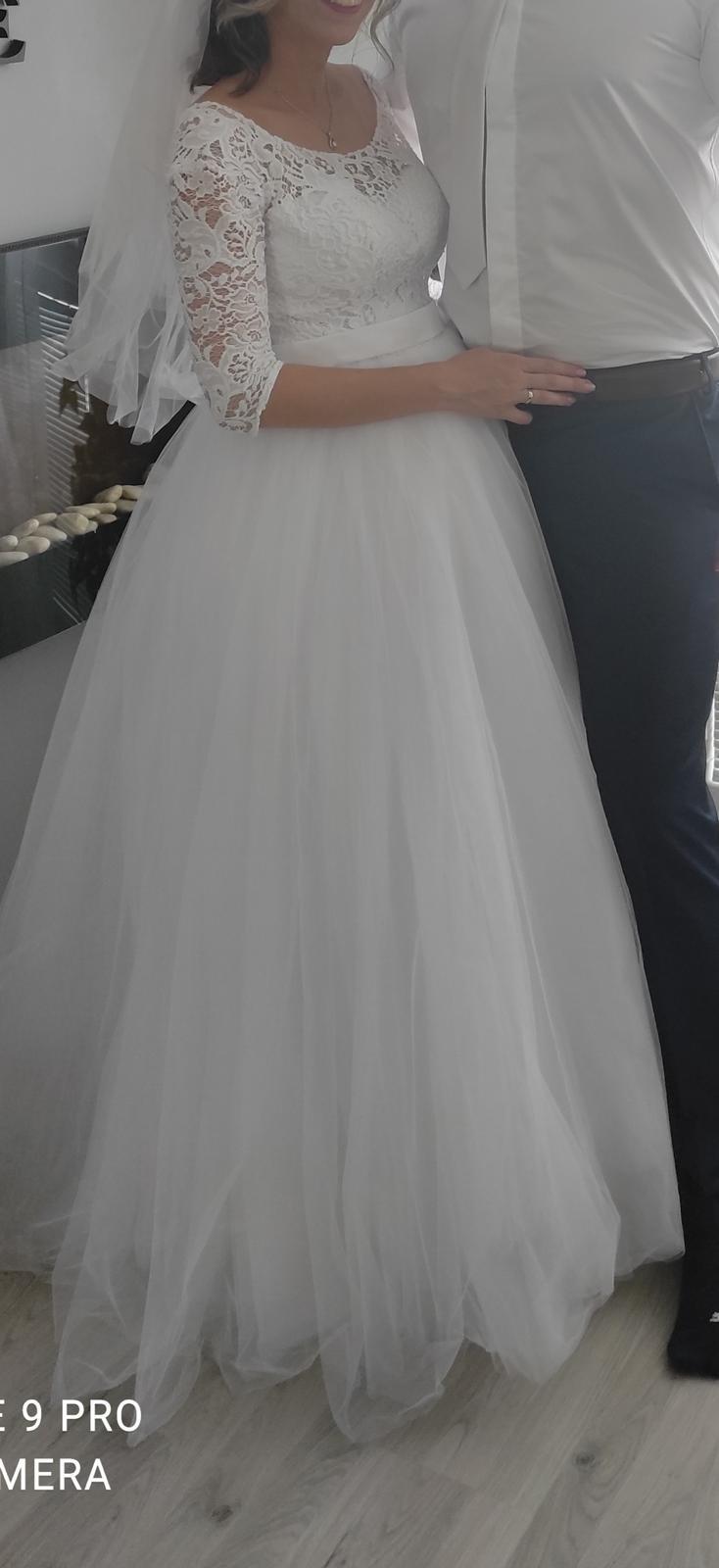 Predám svadobné šaty veľ S aj pre tehotné - Obrázok č. 4