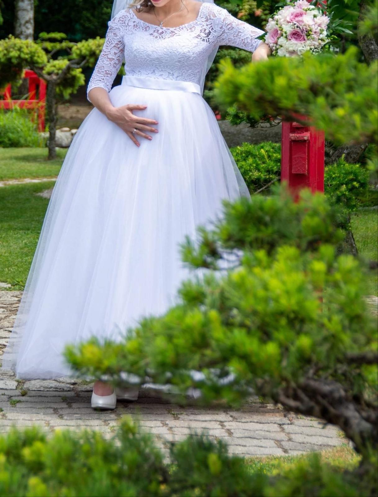 Predám svadobné šaty veľ S aj pre tehotné - Obrázok č. 1