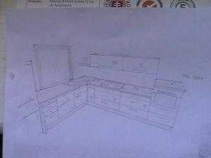 Takto bude vyzerať moja kuchynka:-)Za varnou doskou bude vsak len 185 cm vysoká stena:-)