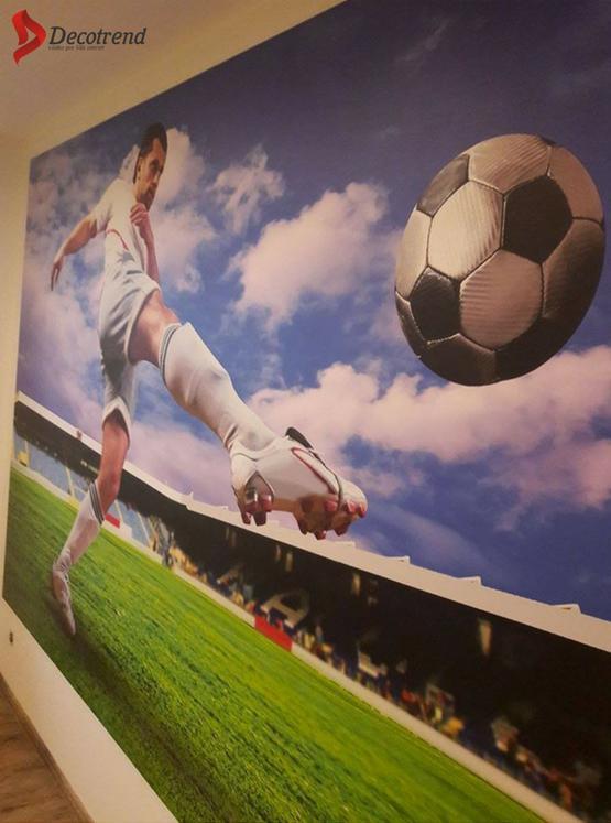 Inšpirácie s tapetami - realizácie v interiéroch - Futbalová tapeta na mieru ( Prievidza ) + práca nášho tapetára