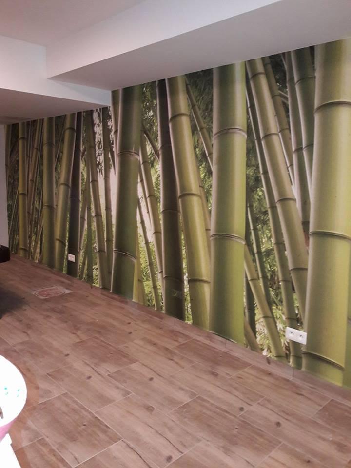 Inšpirácie s tapetami - realizácie v interiéroch - Tapeta Bambus - vinylová štruktúra plátna - masážny salón